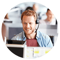 Smiling call center representative on headset improves customer experience