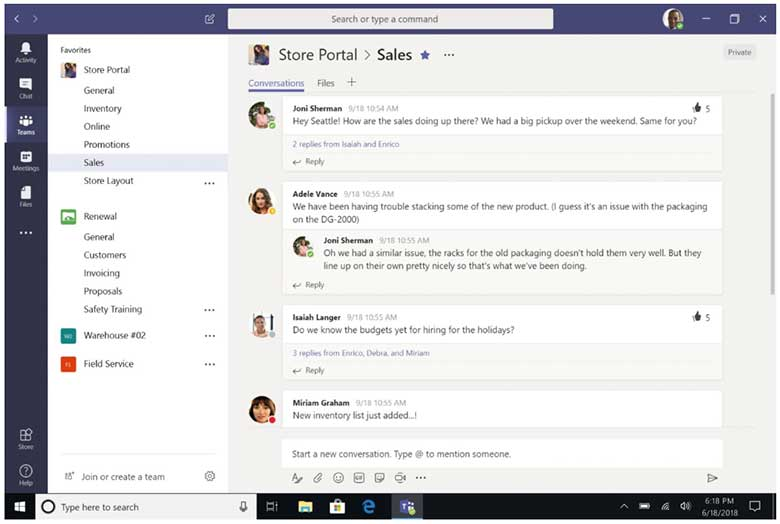 Microsoft Teams screen shot